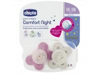 Chicco Physio Comfort Night Succhietti Silicone 16-36m Rosa 2 Pezzi