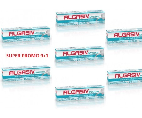 ALGASIV SENSITIVE Crema adesiva per dentiera 40 g PROMO PACK 9+1