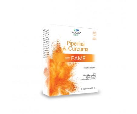Algem Piperina & Curcuma Meno Fame - Integratore per il controllo del senso di fame - 10 flaconcini da 20 ml